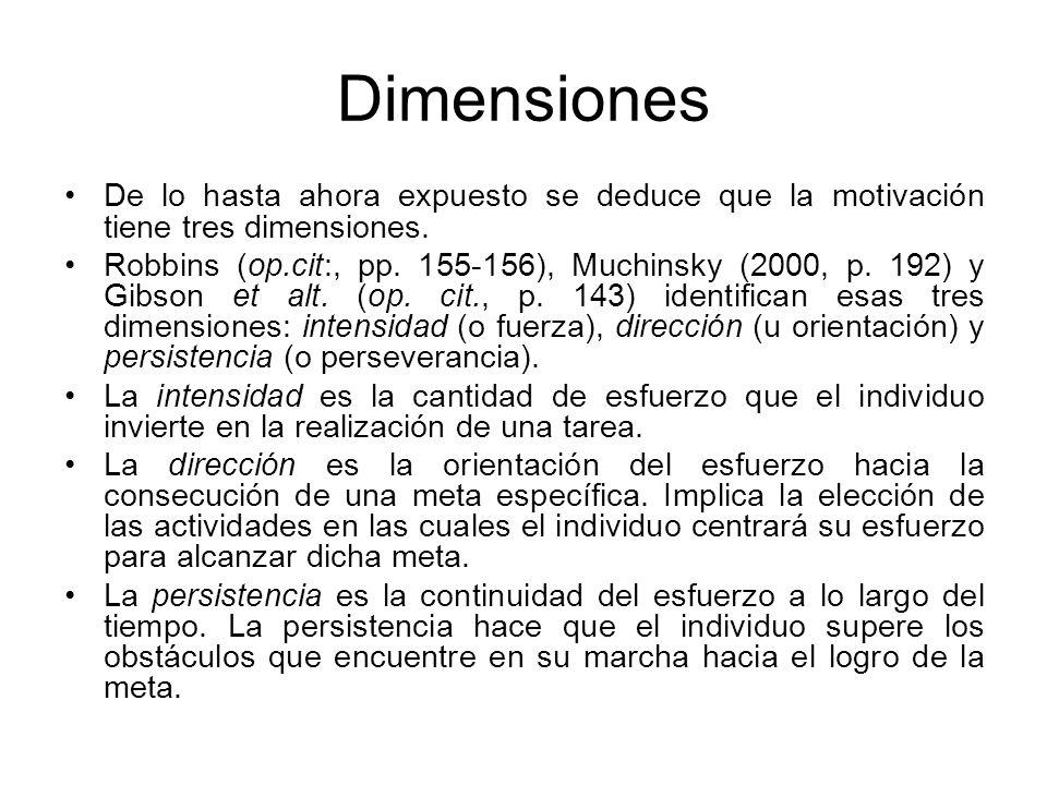 Dimensiones De lo hasta ahora expuesto se deduce que la motivación tiene tres dimensiones. Robbins (op.cit:, pp. 155-156), Muchinsky (2000, p. 192) y