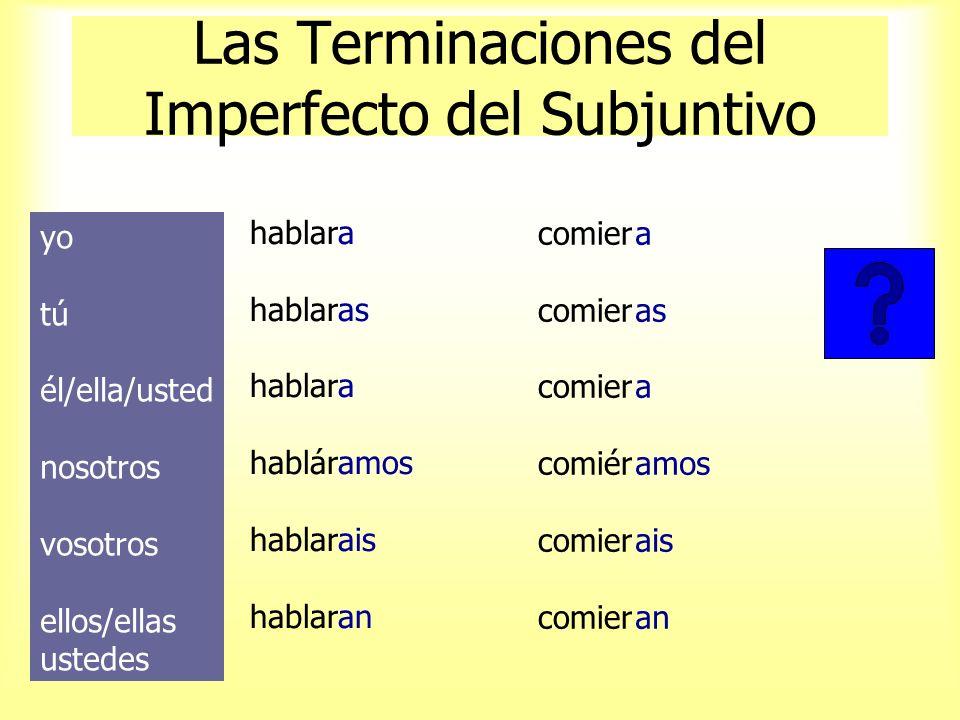 El Imperfecto del Subjuntivo Empiece con la forma de ellos del pretérito: hablaroncomieron Quite las letras -ron habla-comie- Añada las terminaciones