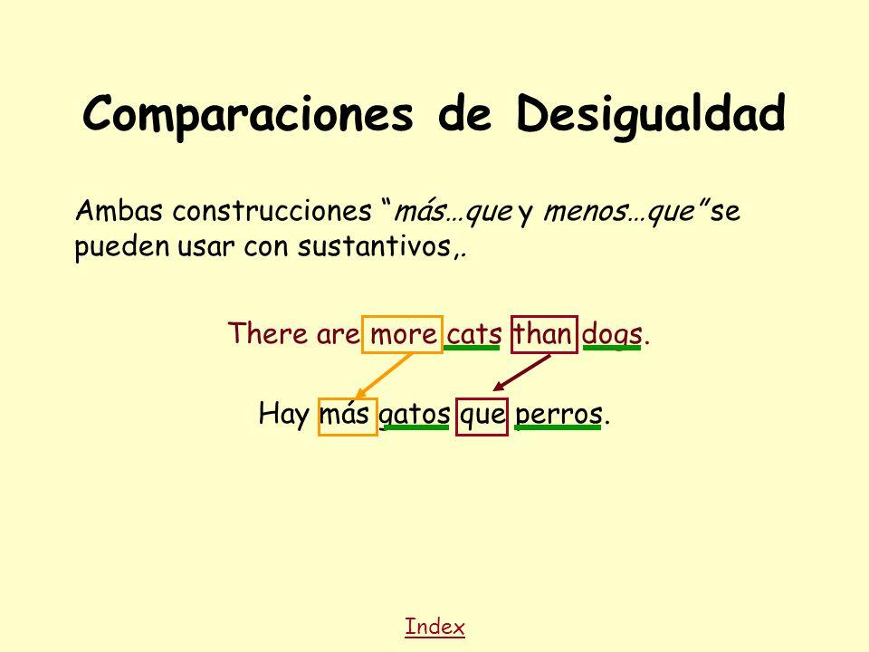 Comparaciones de Desigualdad Ambas construcciones más…que y menos…que se pueden usar con sustantivos,.