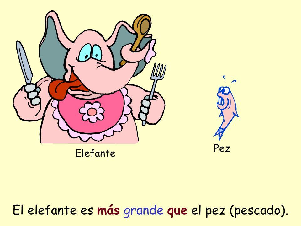 Elefante Pez El elefante es más grande que el pez (pescado).