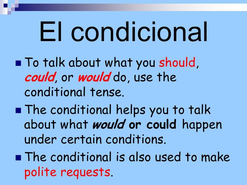 El condicional Como el futuro, los verbos -ar, -er e–ir tienen las mismas terminaciones que se agregan al infinitivo.