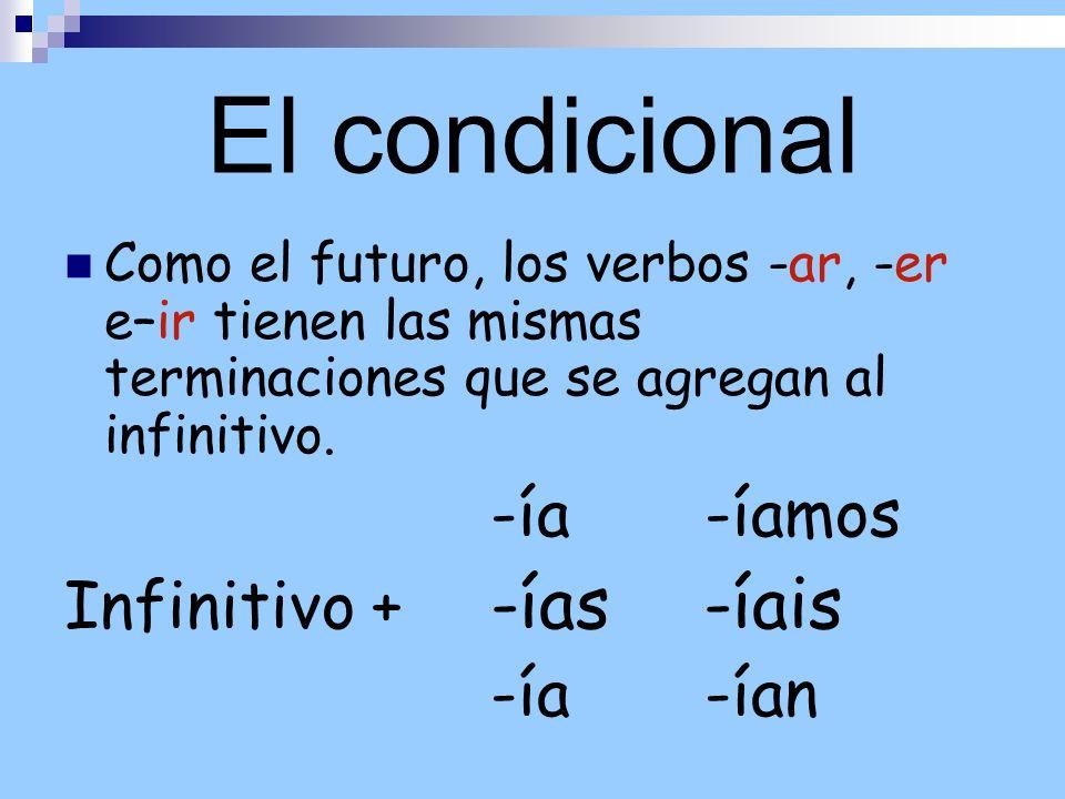 El condicional Como el futuro, los verbos -ar, -er e–ir tienen las mismas terminaciones que se agregan al infinitivo. -ía -íamos Infinitivo + -ías -ía