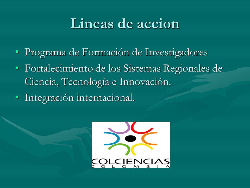 Lineas de accion Programa de Formación de InvestigadoresPrograma de Formación de Investigadores Fortalecimiento de los Sistemas Regionales de Ciencia,