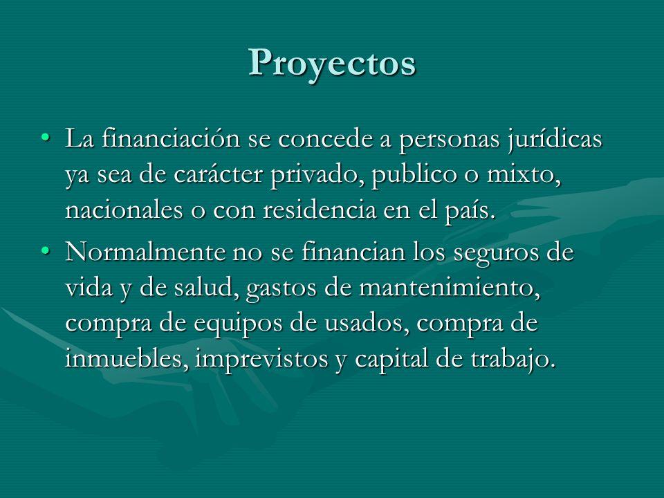 Proyectos La financiación se concede a personas jurídicas ya sea de carácter privado, publico o mixto, nacionales o con residencia en el país.La finan