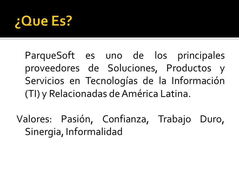 ParqueSoft es uno de los principales proveedores de Soluciones, Productos y Servicios en Tecnologías de la Información (TI) y Relacionadas de América
