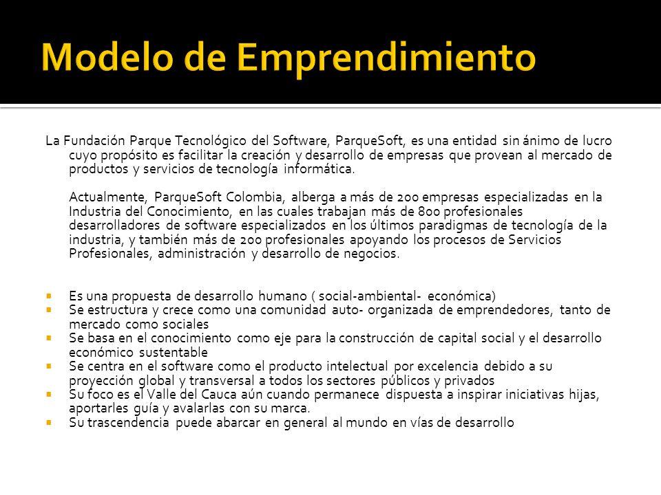 ParqueSoft en su modelo organizacional tiene un comité de emprendimiento, que está integrado por emprendedores ya instalados en los ParqueSoft.