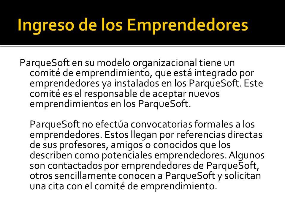ParqueSoft en su modelo organizacional tiene un comité de emprendimiento, que está integrado por emprendedores ya instalados en los ParqueSoft. Este c