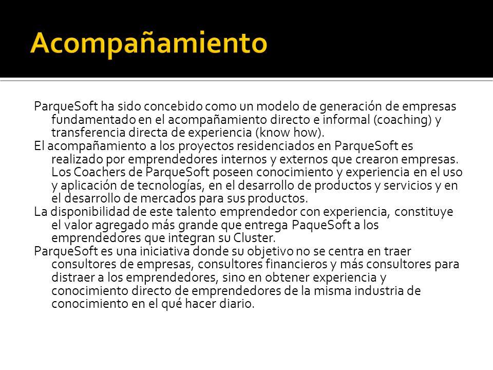 ParqueSoft ha sido concebido como un modelo de generación de empresas fundamentado en el acompañamiento directo e informal (coaching) y transferencia