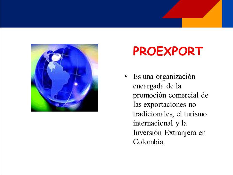 PROEXPORT Es una organización encargada de la promoción comercial de las exportaciones no tradicionales, el turismo internacional y la Inversión Extra