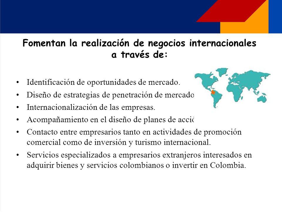 Fomentan la realización de negocios internacionales a través de: Identificación de oportunidades de mercado. Diseño de estrategias de penetración de m