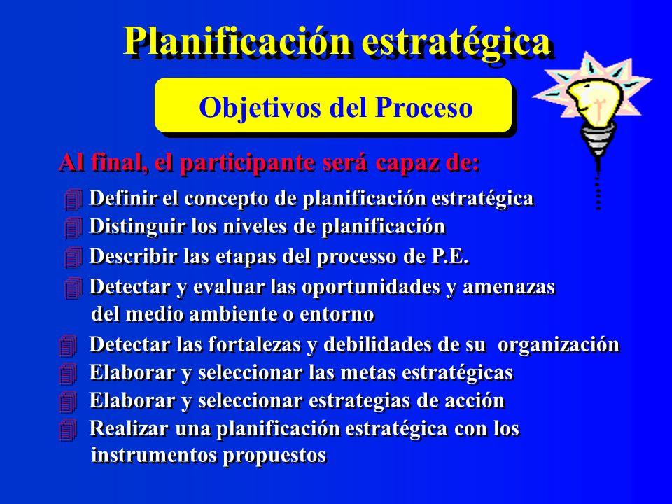 Selección de metas estratégicas Metas estratégicas potenciales Lo que está en juego Logro potenciales Pérdidas potenciales Desafío Capacidades a desarrollar Voluntad de los dirigentes Metas estratégicas seleccionadas 1.