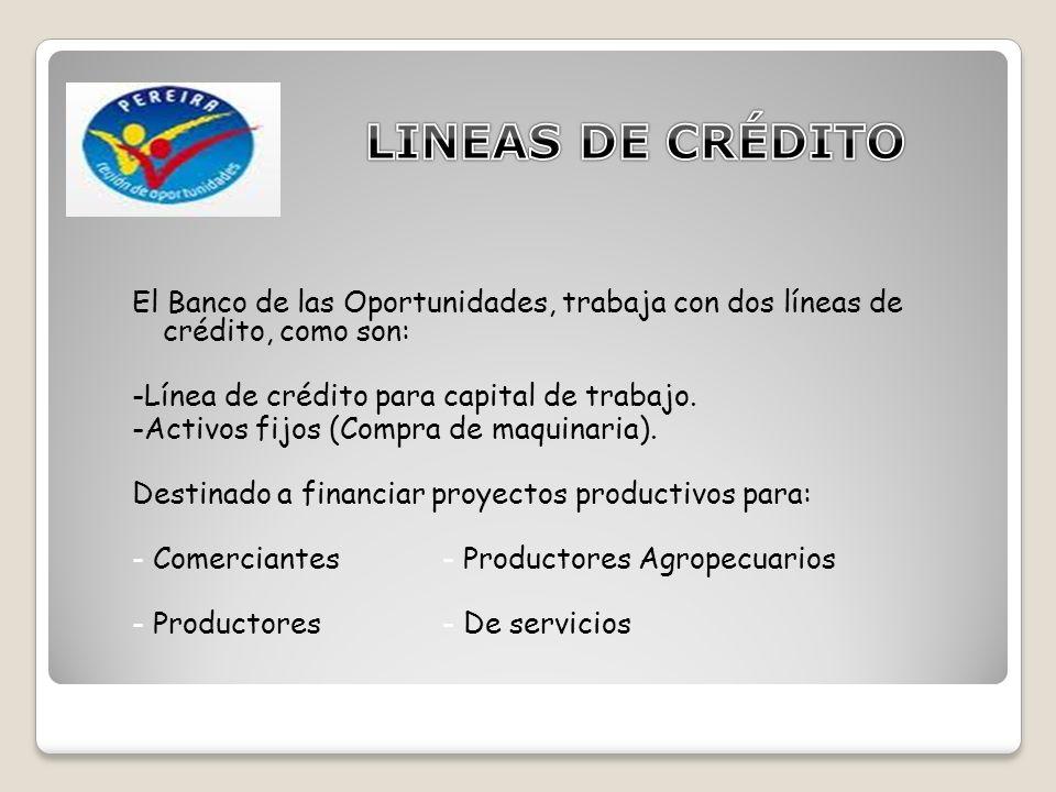 El Banco de las Oportunidades, trabaja con dos líneas de crédito, como son: -Línea de crédito para capital de trabajo.