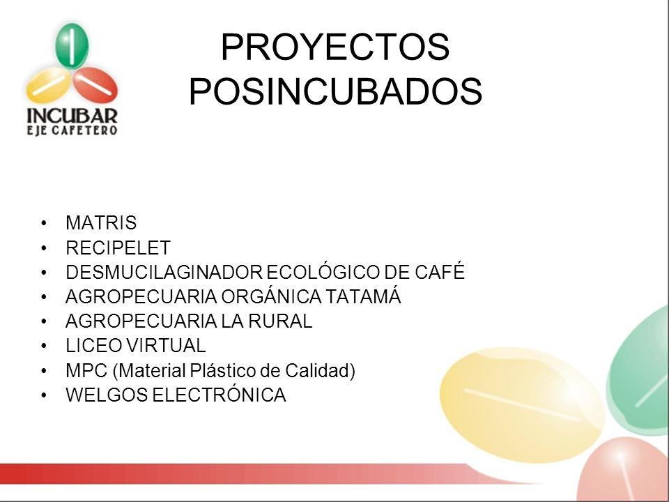 PROYECTOS POSINCUBADOS MATRIS RECIPELET DESMUCILAGINADOR ECOLÓGICO DE CAFÉ AGROPECUARIA ORGÁNICA TATAMÁ AGROPECUARIA LA RURAL LICEO VIRTUAL MPC (Mater
