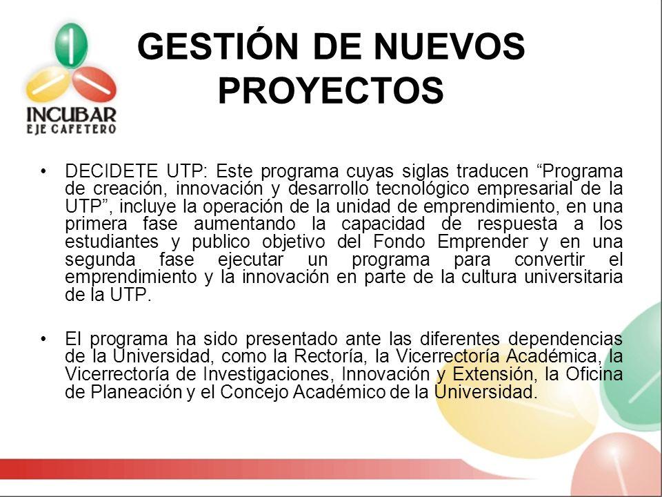 GESTIÓN DE NUEVOS PROYECTOS DECIDETE UTP: Este programa cuyas siglas traducen Programa de creación, innovación y desarrollo tecnológico empresarial de