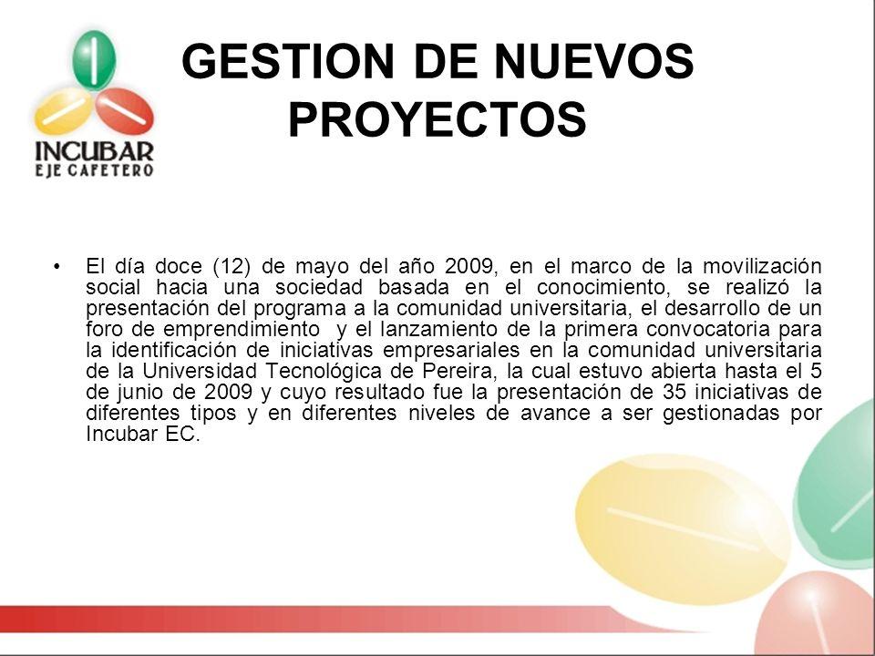 GESTION DE NUEVOS PROYECTOS El día doce (12) de mayo del año 2009, en el marco de la movilización social hacia una sociedad basada en el conocimiento,