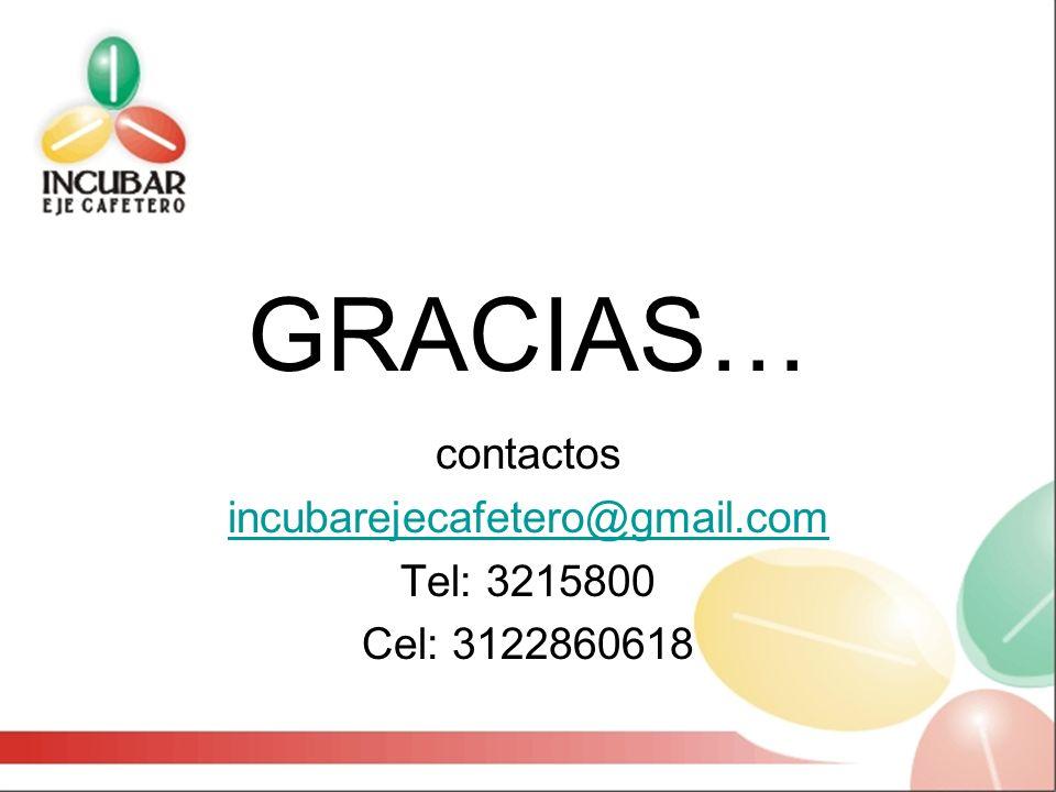 GRACIAS… contactos incubarejecafetero@gmail.com Tel: 3215800 Cel: 3122860618