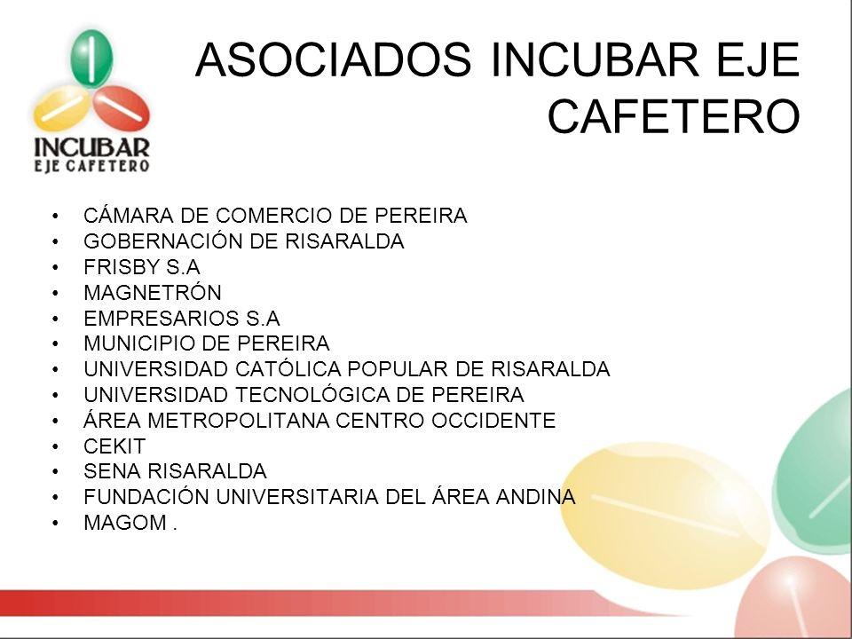 ASOCIADOS INCUBAR EJE CAFETERO CÁMARA DE COMERCIO DE PEREIRA GOBERNACIÓN DE RISARALDA FRISBY S.A MAGNETRÓN EMPRESARIOS S.A MUNICIPIO DE PEREIRA UNIVER