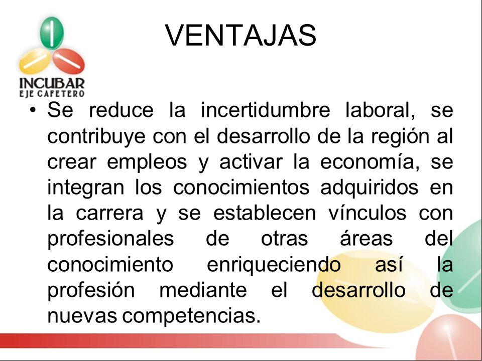 VENTAJAS Se reduce la incertidumbre laboral, se contribuye con el desarrollo de la región al crear empleos y activar la economía, se integran los cono