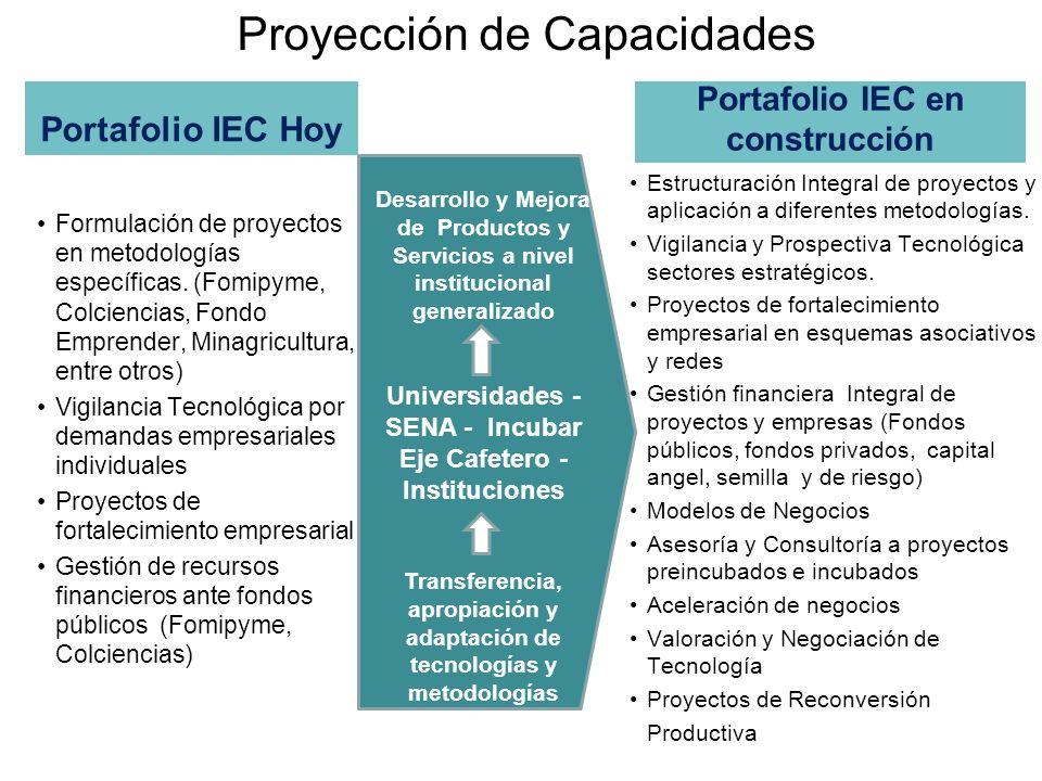 Proyección de Capacidades Portafolio IEC Hoy Formulación de proyectos en metodologías específicas. (Fomipyme, Colciencias, Fondo Emprender, Minagricul