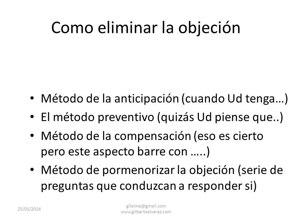 Como eliminar la objeción Método objeción apoyo Método del derrumbamiento (preguntas) Método del si pero …… Método de la interpretación (ud lo que dic