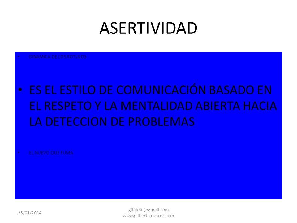ASERTIVIDAD DINAMICA DE LOS ROTULOS ES EL ESTILO DE COMUNICACIÓN BASADO EN EL RESPETO Y LA MENTALIDAD ABIERTA HACIA LA DETECCION DE PROBLEMAS EL NUEVO
