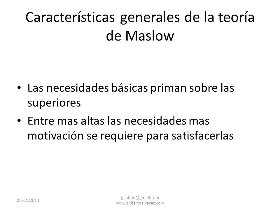 Características generales de la teoría de Maslow La necesidad no satisfecha influye en el comportamiento, la satisfecha no genera comportamiento La fi