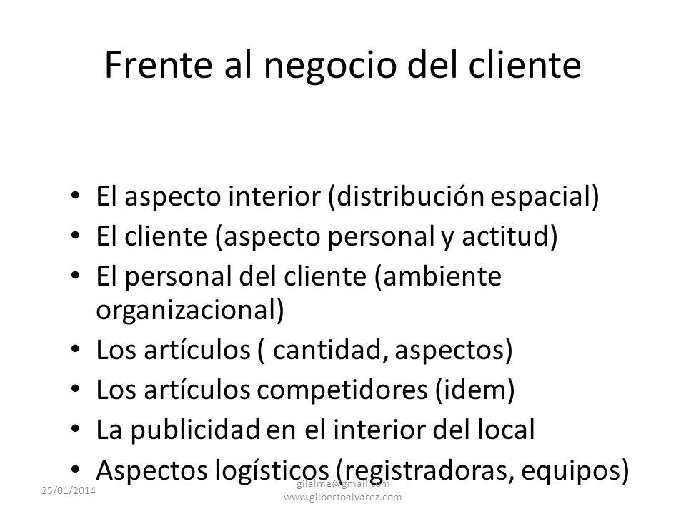 Dirigiéndose al negocio del cliente Orden y pulcritud Presentación de los artículos y de la competencia Posición de la competencia 25/01/2014 gilalme@