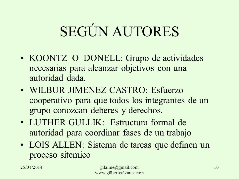 SEGÚN AUTORES KOONTZ O DONELL: Grupo de actividades necesarias para alcanzar objetivos con una autoridad dada. WILBUR JIMENEZ CASTRO: Esfuerzo coopera