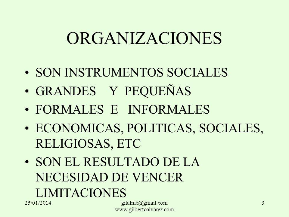 ORGANIZACIONES SON INSTRUMENTOS SOCIALES GRANDES Y PEQUEÑAS FORMALES E INFORMALES ECONOMICAS, POLITICAS, SOCIALES, RELIGIOSAS, ETC SON EL RESULTADO DE