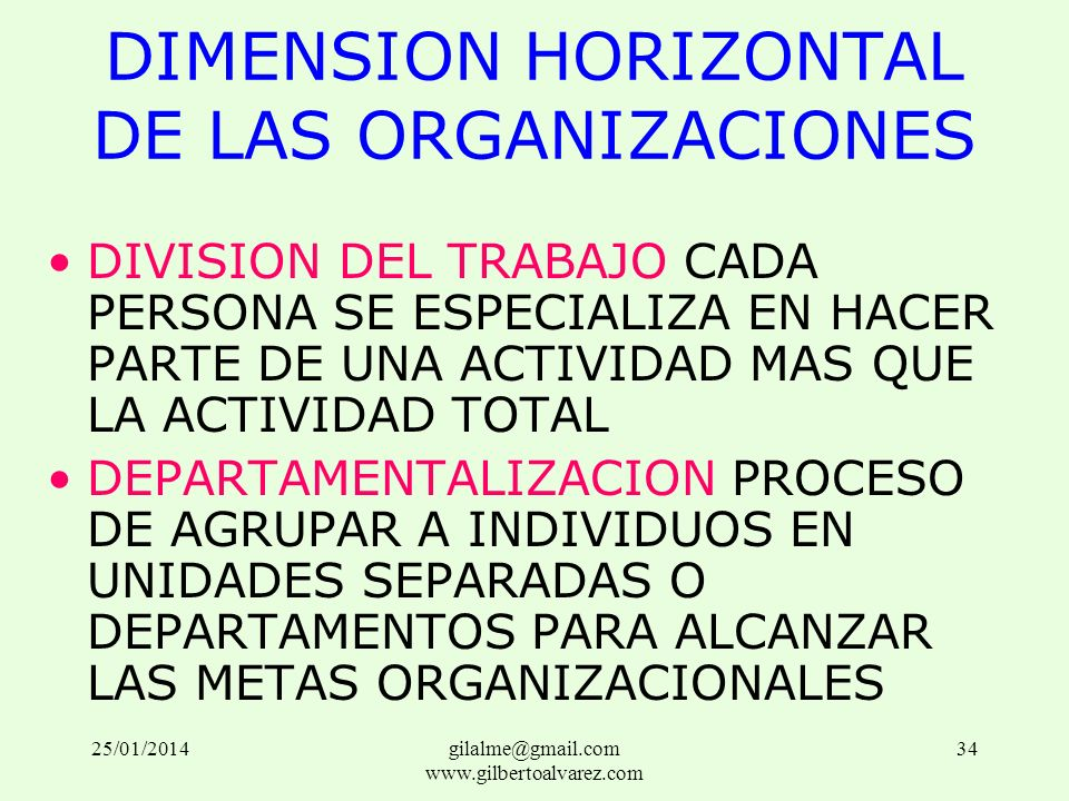 DIMENSION HORIZONTAL DE LAS ORGANIZACIONES DIVISION DEL TRABAJO CADA PERSONA SE ESPECIALIZA EN HACER PARTE DE UNA ACTIVIDAD MAS QUE LA ACTIVIDAD TOTAL