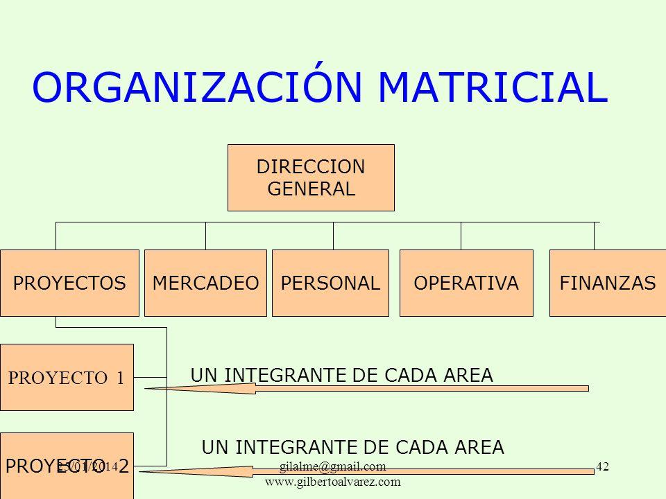 ORGANIZACIÓN MATRICIAL PROYECTOSMERCADEOPERSONALOPERATIVAFINANZAS DIRECCION GENERAL PROYECTO 1 PROYECTO 2 UN INTEGRANTE DE CADA AREA 25/01/201442gilal