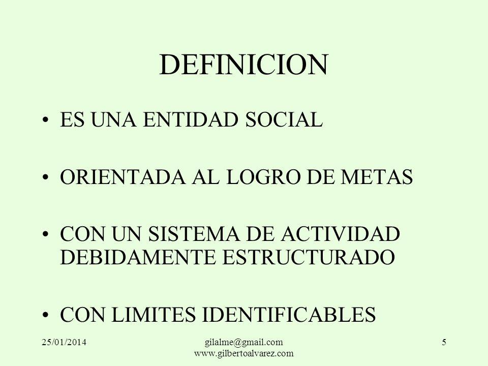 DEFINICION ES UNA ENTIDAD SOCIAL ORIENTADA AL LOGRO DE METAS CON UN SISTEMA DE ACTIVIDAD DEBIDAMENTE ESTRUCTURADO CON LIMITES IDENTIFICABLES 25/01/201
