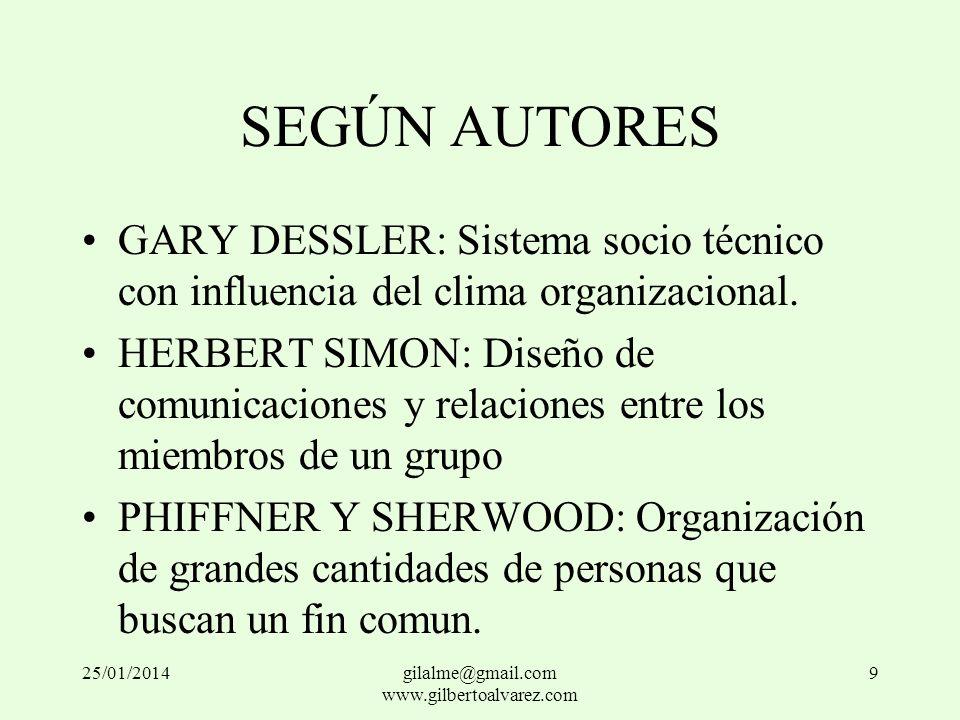 SEGÚN AUTORES GARY DESSLER: Sistema socio técnico con influencia del clima organizacional. HERBERT SIMON: Diseño de comunicaciones y relaciones entre