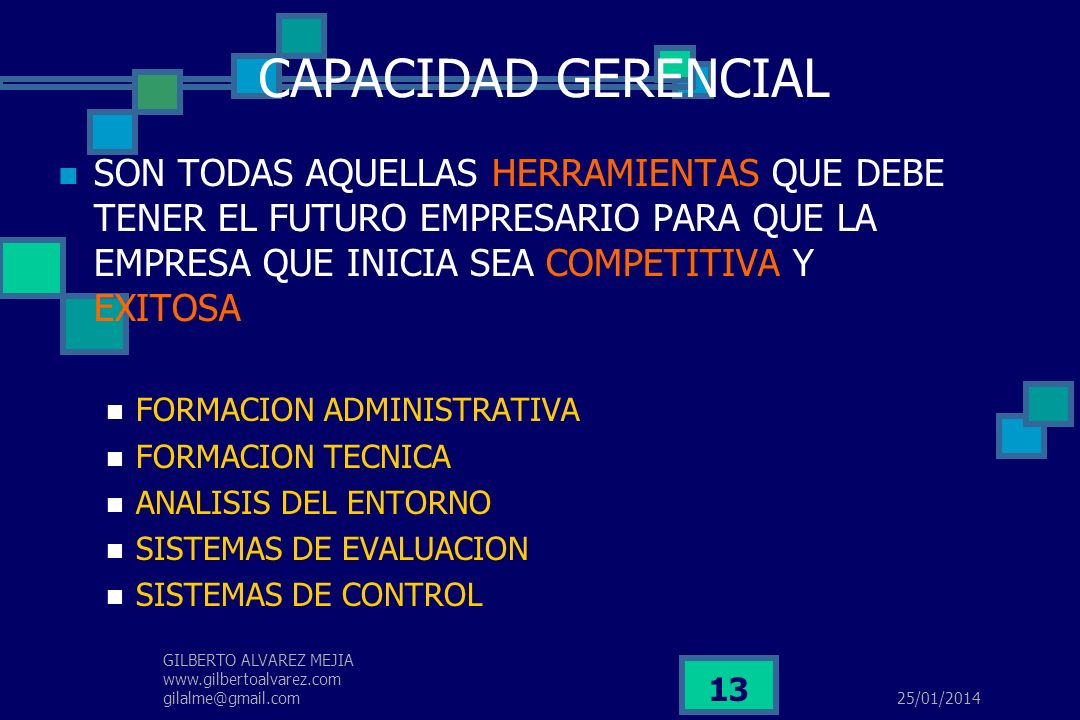 25/01/2014 GILBERTO ALVAREZ MEJIA www.gilbertoalvarez.com gilalme@gmail.com 12 PROCESO DE FORMACION DEL EMPRESARIO VARIABLE SITUACIONAL (DESPLAZAMIENT