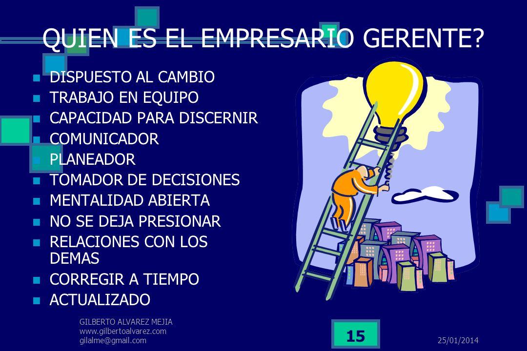 25/01/2014 GILBERTO ALVAREZ MEJIA www.gilbertoalvarez.com gilalme@gmail.com 14 EMPRENDEDOR INNOVADOR CREATIVO COMPETITIVO CAMBIANTE FUTURISTA