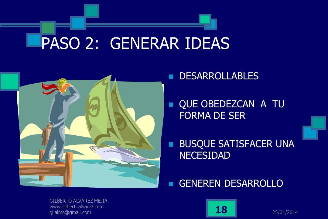 25/01/2014 GILBERTO ALVAREZ MEJIA www.gilbertoalvarez.com gilalme@gmail.com 17 PASO 1: INQUIETARSE MEJORAR EL NIVEL DE VIDA SER INDEPENDIENTE INCREMEN