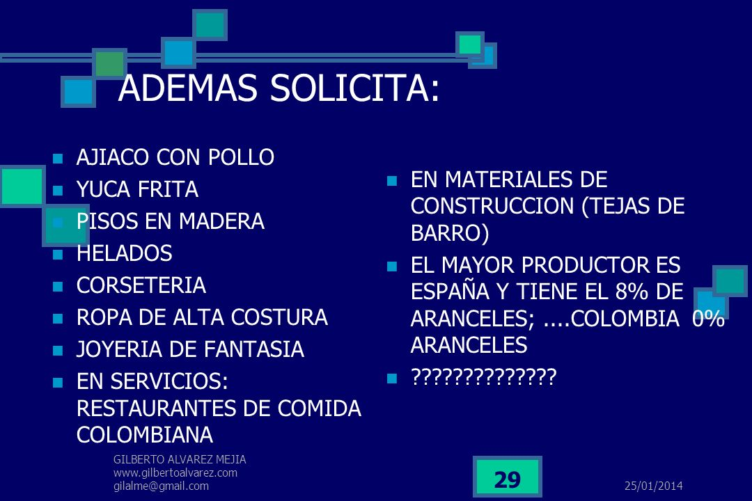25/01/2014 GILBERTO ALVAREZ MEJIA www.gilbertoalvarez.com gilalme@gmail.com 28 EMPRESARIOS DE HOY Vs GLOBALIDAD (DATOS DE 2001 CAMARA COLOMBO AMERICAN