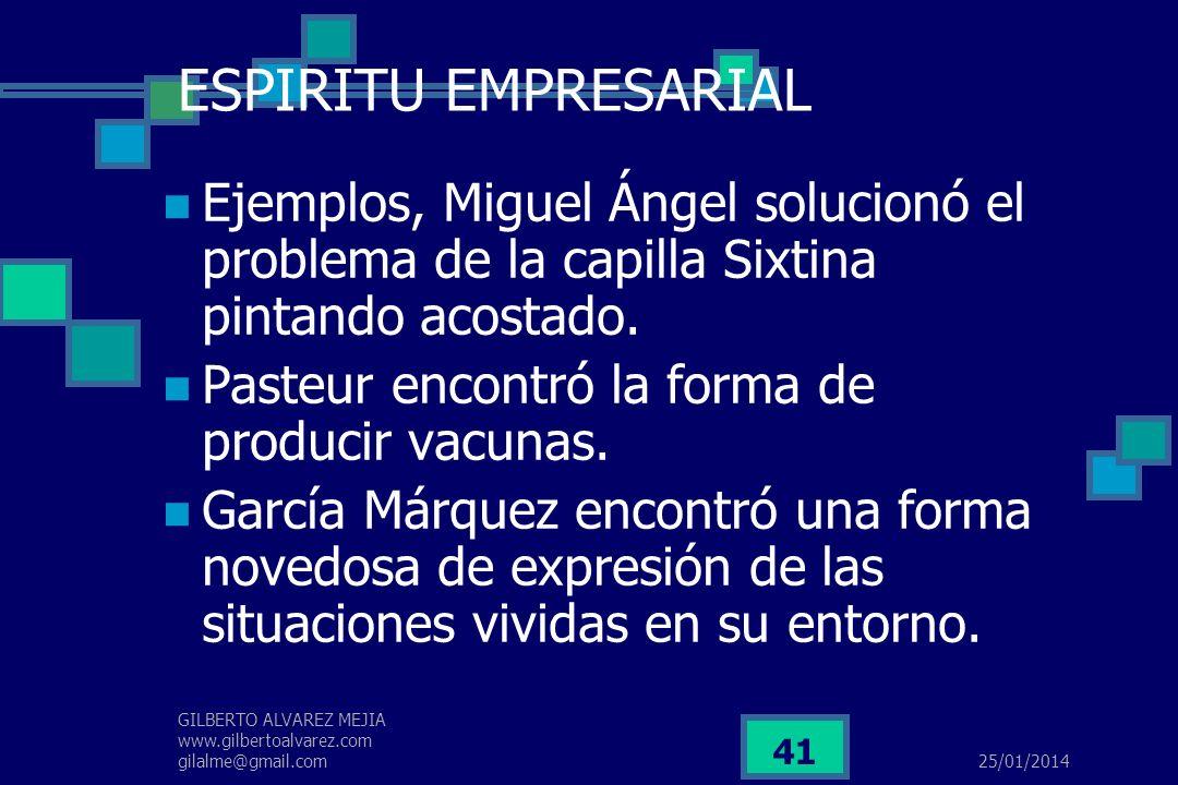 25/01/2014 GILBERTO ALVAREZ MEJIA www.gilbertoalvarez.com gilalme@gmail.com 40 ESPIRITU EMPRESARIAL 2.Por su habilidad para encontrar, mediante proces