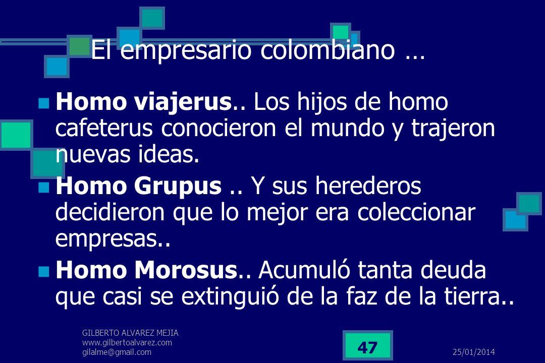 25/01/2014 GILBERTO ALVAREZ MEJIA www.gilbertoalvarez.com gilalme@gmail.com 46 El empresario colombiano es capaz, es arriesgado y muy bueno para detec