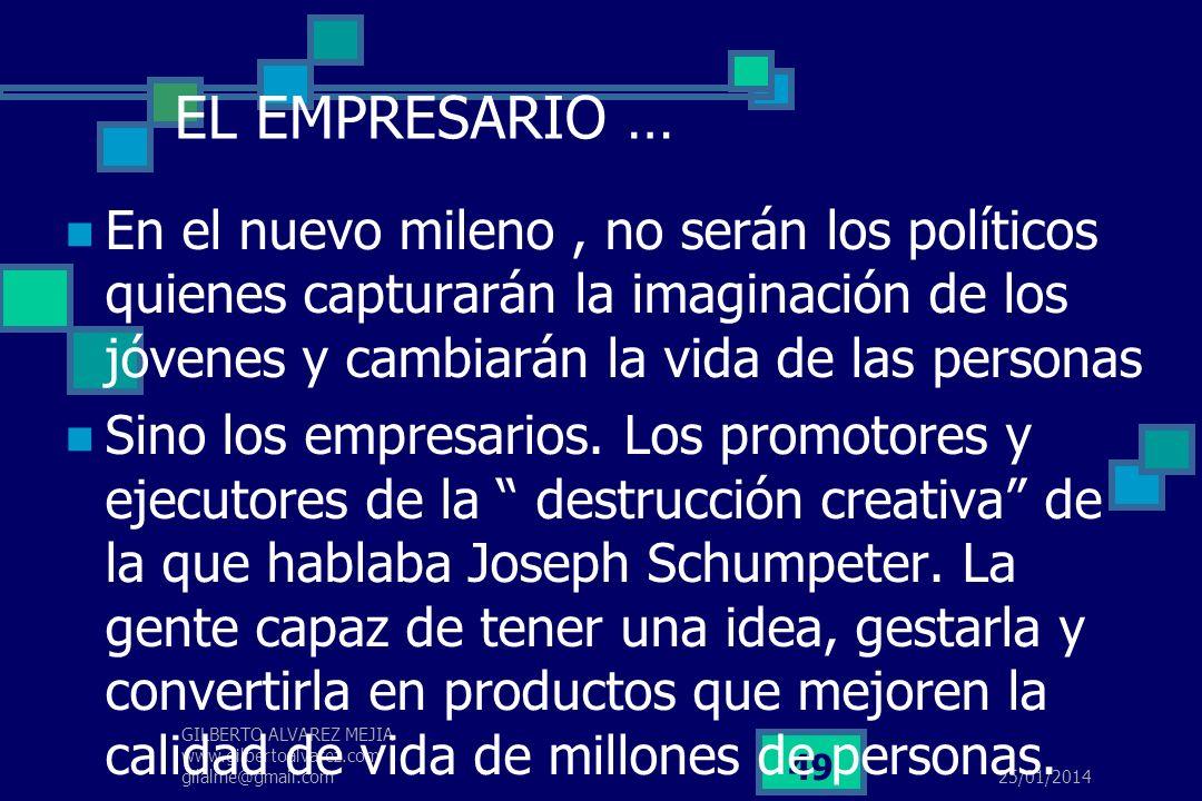 25/01/2014 GILBERTO ALVAREZ MEJIA www.gilbertoalvarez.com gilalme@gmail.com 48 El empresario colombiano … … hasta llegar a HOMO GLOBALIS, que tenía el