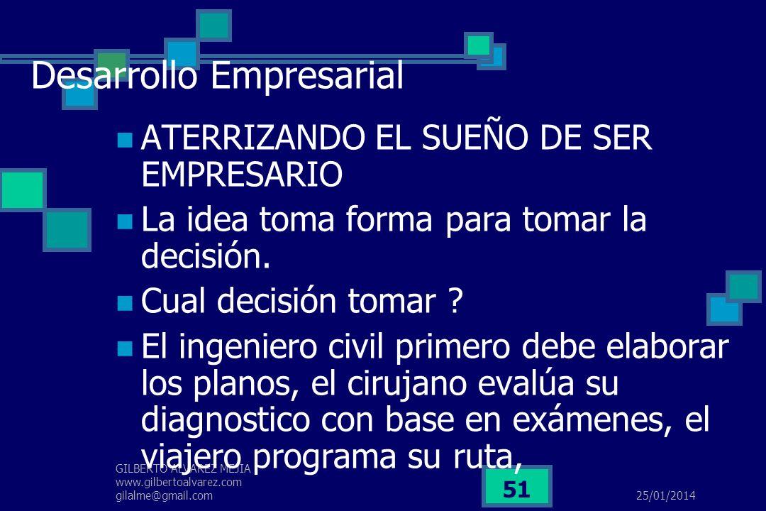 25/01/2014 GILBERTO ALVAREZ MEJIA www.gilbertoalvarez.com gilalme@gmail.com 50 DESARROLLO EMPRESARIAL La creación de una nueva empresa tiene su origen