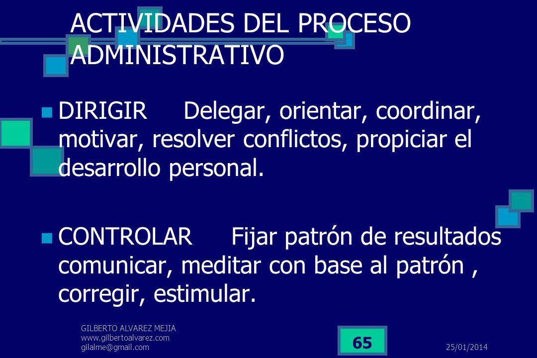 25/01/2014 GILBERTO ALVAREZ MEJIA www.gilbertoalvarez.com gilalme@gmail.com 64 ACTIVIDADES DEL PROCESO ADMINISTRATIVO PLANEAR Diagnosticar, fijar obje