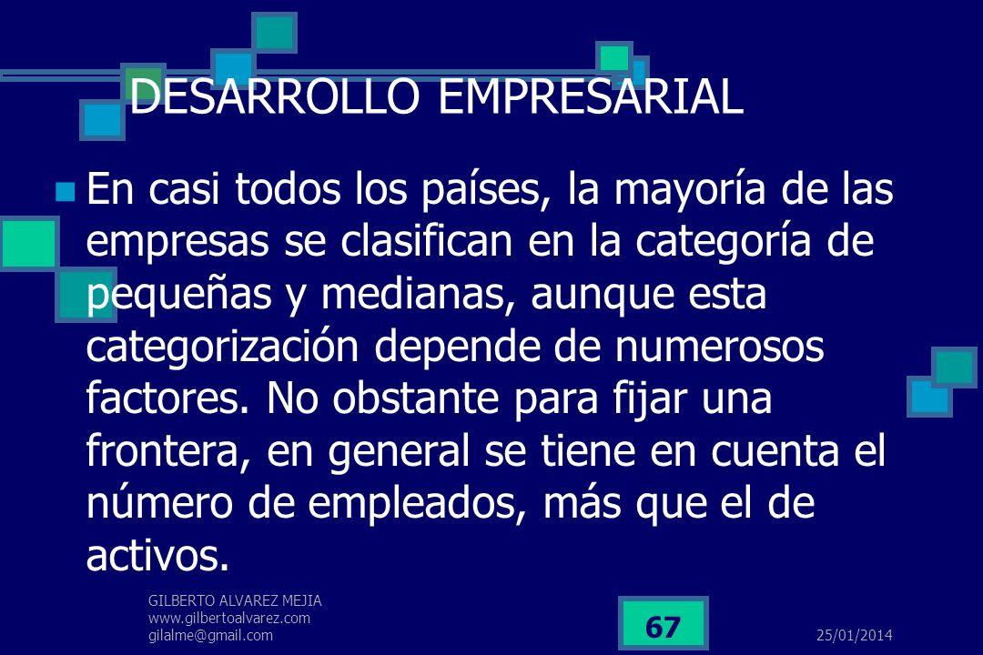 25/01/2014 GILBERTO ALVAREZ MEJIA www.gilbertoalvarez.com gilalme@gmail.com 66 DESARROLLO EMPRESARIAL Una empresa es una unidad económica constituida