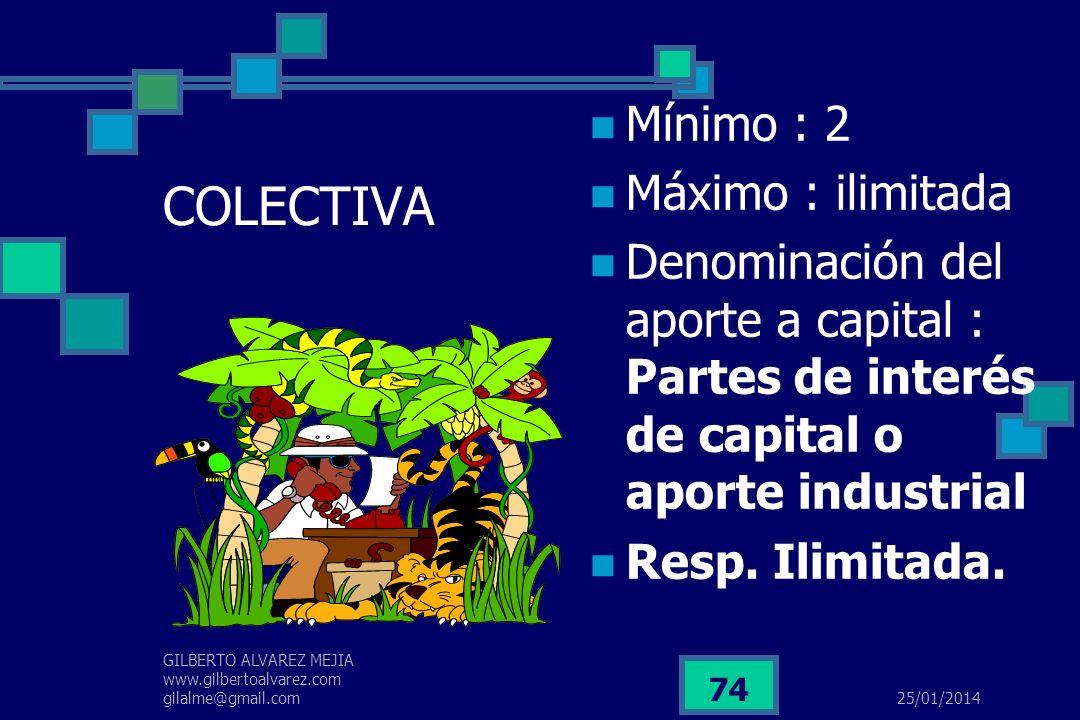 25/01/2014 GILBERTO ALVAREZ MEJIA www.gilbertoalvarez.com gilalme@gmail.com 73 SOCIEDAD LIMITADA Mínimo : 2 Máximo : 25 Denominación del aporte social