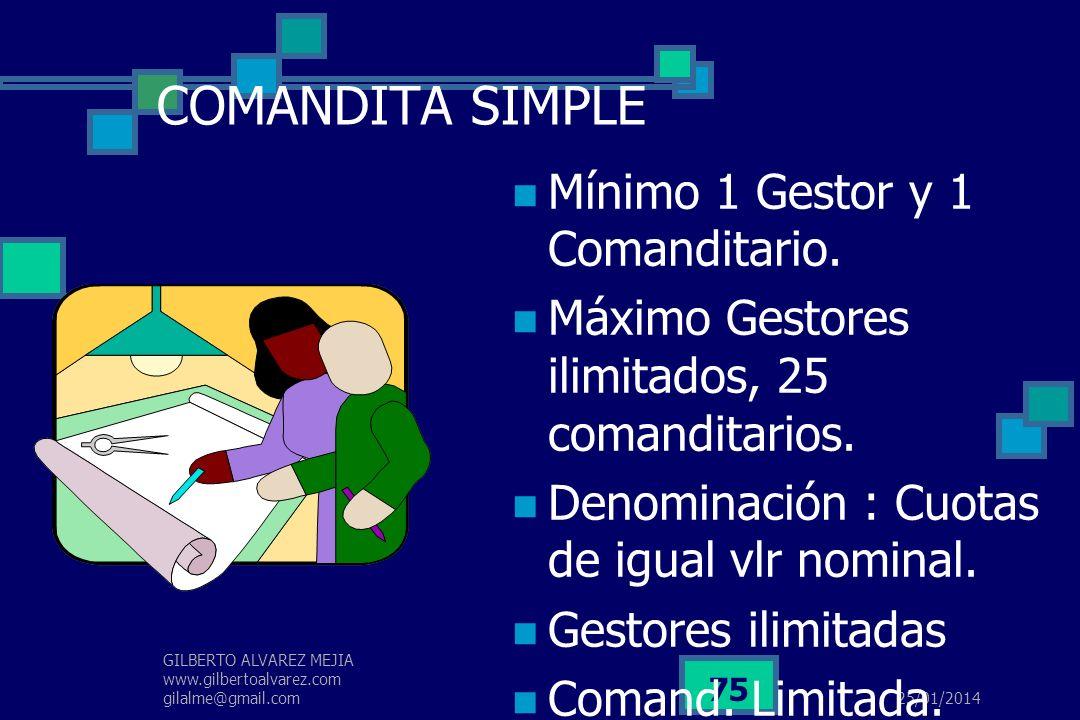 25/01/2014 GILBERTO ALVAREZ MEJIA www.gilbertoalvarez.com gilalme@gmail.com 74 COLECTIVA Mínimo : 2 Máximo : ilimitada Denominación del aporte a capit