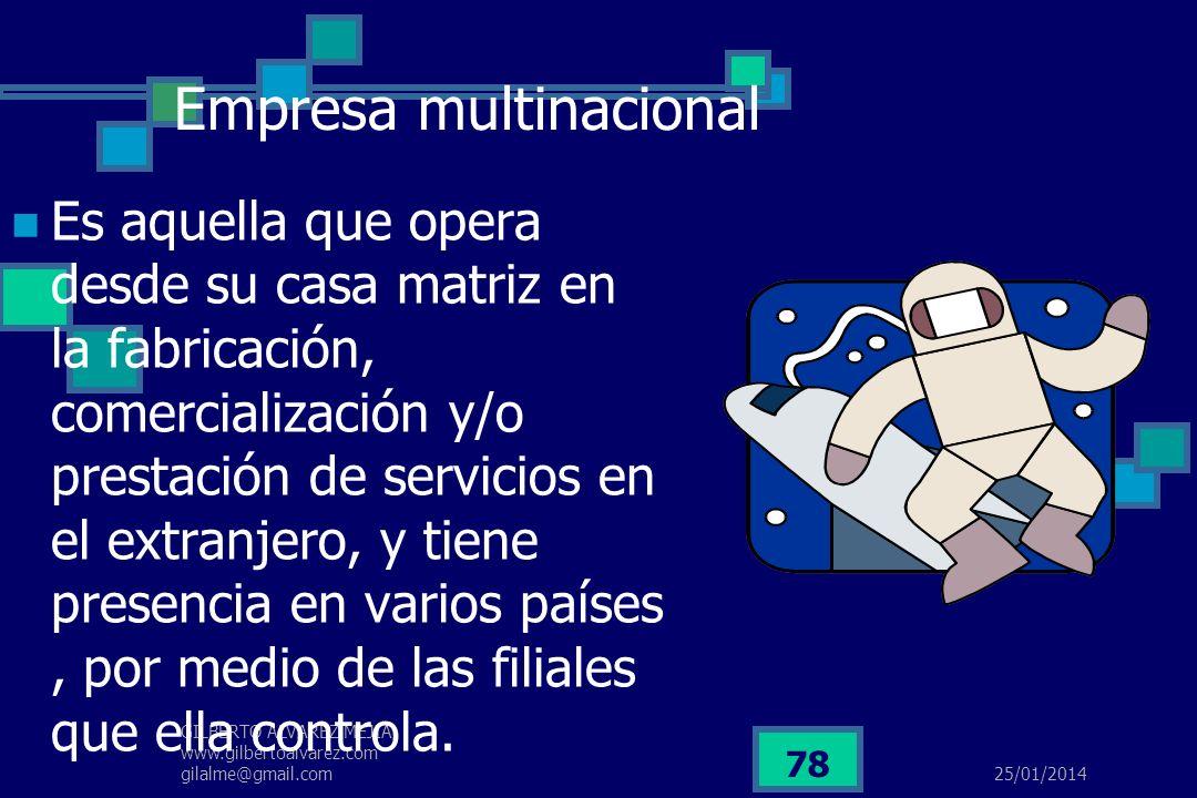 25/01/2014 GILBERTO ALVAREZ MEJIA www.gilbertoalvarez.com gilalme@gmail.com 77 EMPRESA VIRTUAL Concebida como una estructura organizacional de gran fl