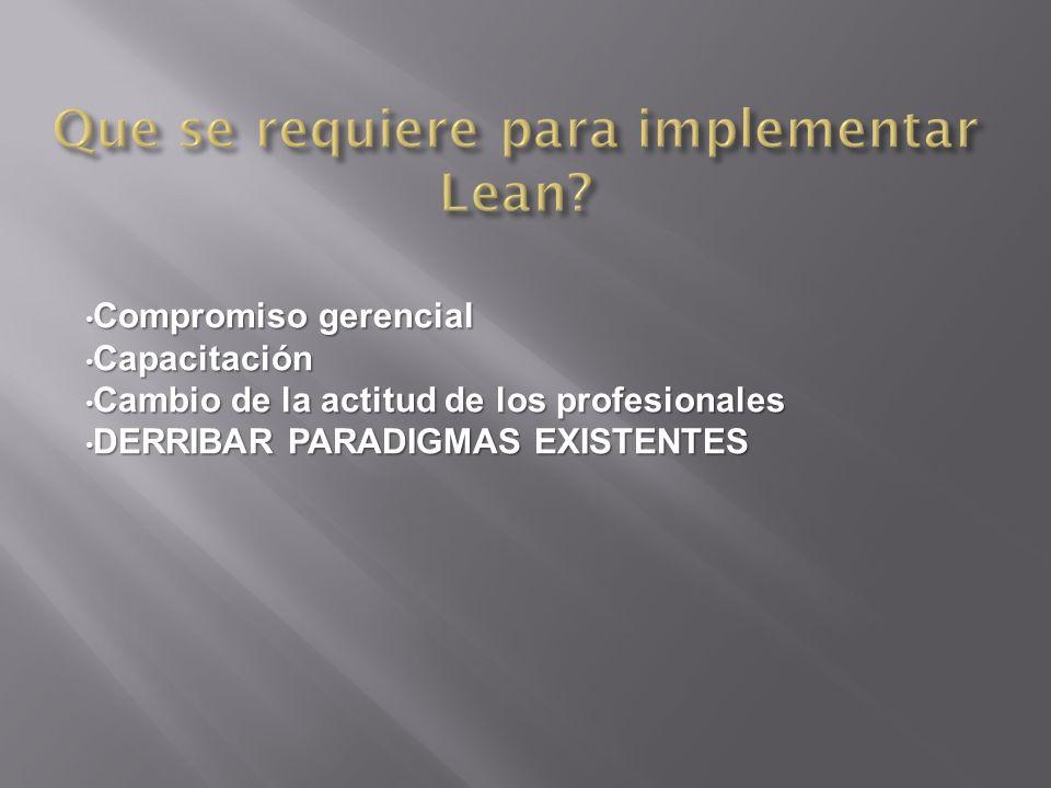 Compromiso gerencial Compromiso gerencial Capacitación Capacitación Cambio de la actitud de los profesionales Cambio de la actitud de los profesionales DERRIBAR PARADIGMAS EXISTENTES DERRIBAR PARADIGMAS EXISTENTES