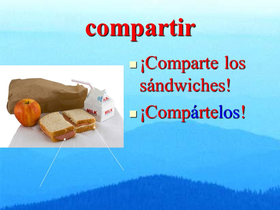 compartir ¡Comparte los sándwiches! ¡Comparte los sándwiches! ¡Compártelos! ¡Compártelos!