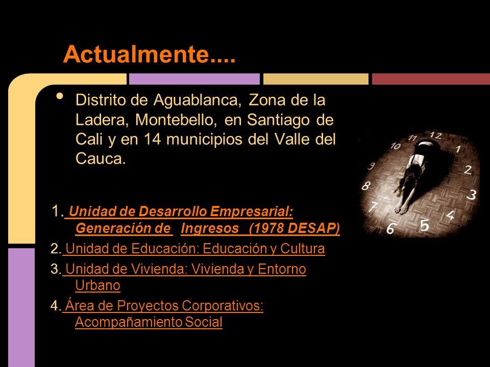 Distrito de Aguablanca, Zona de la Ladera, Montebello, en Santiago de Cali y en 14 municipios del Valle del Cauca.