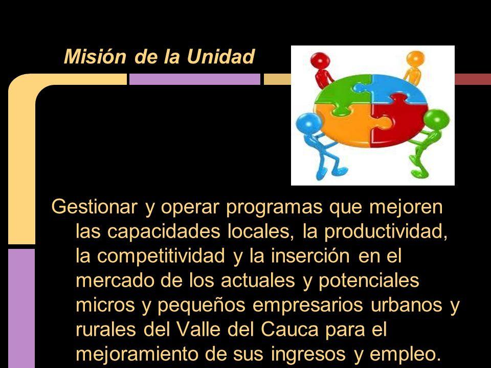 Gestionar y operar programas que mejoren las capacidades locales, la productividad, la competitividad y la inserción en el mercado de los actuales y potenciales micros y pequeños empresarios urbanos y rurales del Valle del Cauca para el mejoramiento de sus ingresos y empleo.
